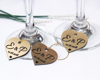 Wedding wine charms Etsy
