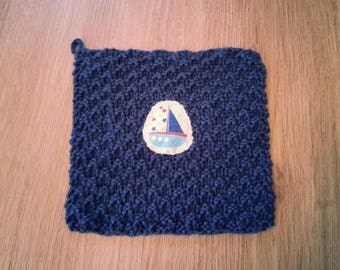 Boat Washcloth with Hook for Hanging - 100% Cotton