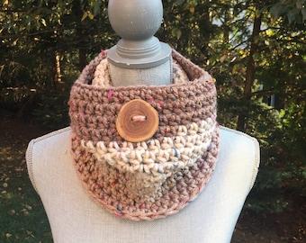 Mocha Rainbow Crochet Cowl