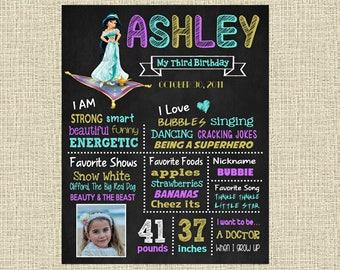 Aladdin Birthday Chalkboard Poster - Disney Princess Jasmine Wall Art design - Birthday Party Poster Sign - Any Age