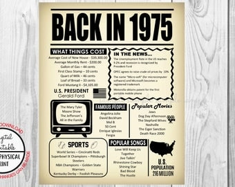 43 Years Ago Back in 1975, 43rd Birthday Poster Sign, Back in 1975 Newspaper Style Poster, Printable, Instant Download, 43 years ago facts