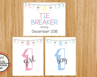 Tie Breaker Pregnancy Announcement Sign, Pregnancy Reveal, Printable, Pink or Blue, Instant Download, Boy and Girl Sign, due December 2018