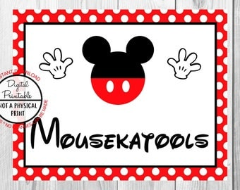 "Mousekatools Sign, Mickey Mouse Birthday Party Sign, 8""x10"" Printable, Instant Download"