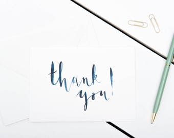 Thank You Cards // 1 pack / 5 pack / 10 pack // A6 Charity Greetings Card // Blue Brush Lettered Watercolour Cards