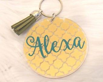 Name Keychain, Custom Keychain, Tassel Keychain, Cute Keychain, Keychain, Monogram Keychain, Glitter Keychain, Keychain for Women, Birthday