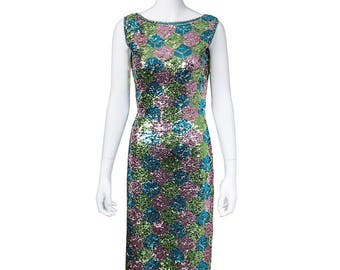 1960's completely covered in sequins Mod Fabulous Multicolored Cubismprint  evening gown with back exposure / floor length / STUNNING!!!!