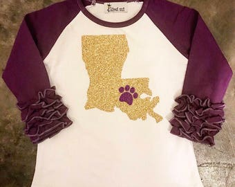 Girls LSU tiger ruffle raglan. Baby, toddler and big girl glitter Louisiana tailgating t-shirt. Purple & gold top.
