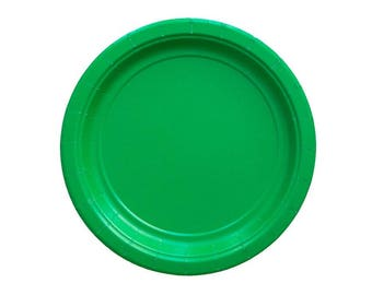 Green Party Plates, Small Green Plates, Large Green Plates, Green Paper Plates, Green Partyware, Paper Plates, Party Plates, Green Party