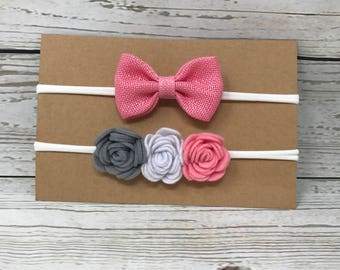 Felt rose headband set