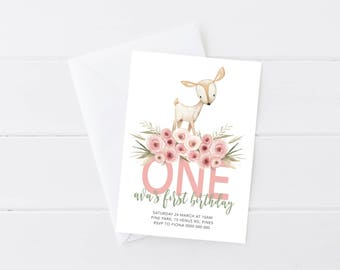 Woodland First Birthday Invitation | Kids Birthday Invitation | Deer First Birthday Invitation | Animal First Birthday Invitation