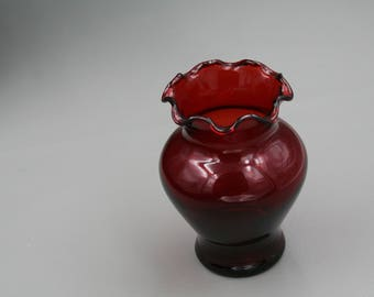 Cranberry Red Glass Vase