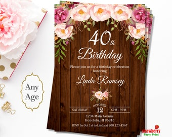 Forty and Fabulous Birthday Invitation, 40th Birthday Invitation for Women, Rustic Floral Birthday Invitation, A33