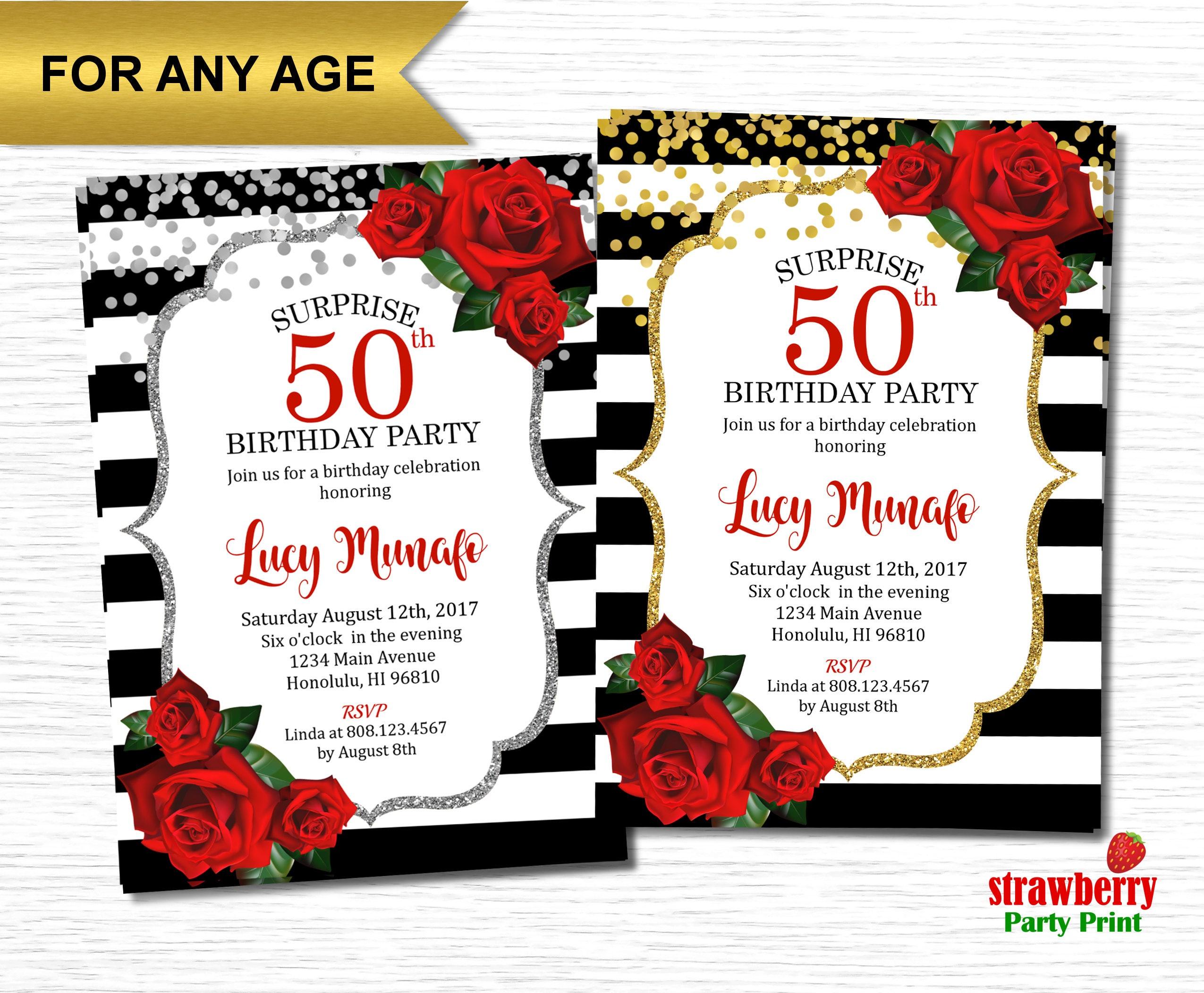 50th Birthday Invitation for Women. Floral Birthday Invitation ...