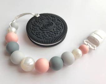 """Pink, Gray & """"Pearl"""" silicone bead Pacifier Clip, optional Teether - Soother Clip - Baby Girl Binky Clip - Paci Clip - cookie, elephant chew"""