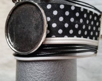 black and white engraved Cuff Bracelet