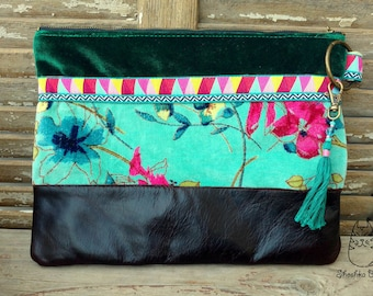Velvet Clutch, Clutch Purse, Velvet and Leather Clutch, Zippered Pouch, Floral Print Bag, Leather Clutch, Everyday Clutch, Floral Clutch