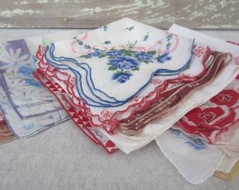 18 Vintage Hankies Floral Patterned Handkerchiefs For Repurposing