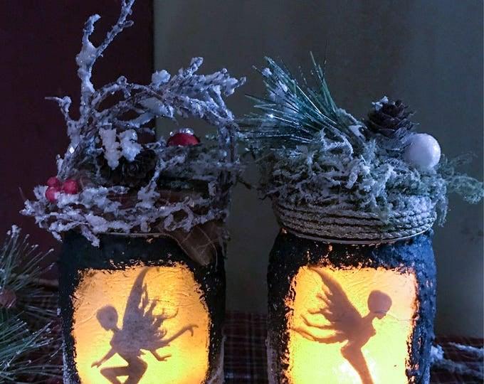 Featured listing image: Winter Wonderland Fairy Jar Light, Yule Christmas Fairy  Lantern Light, Captured Fairy Jar Lights, Fairy Lights, Christmas Decorations