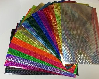 Holographic Prism Sign Vinyl With Adhesive, 3 x 4 inch Sample Pack Swatch Book, Mosaic 1/4 inch