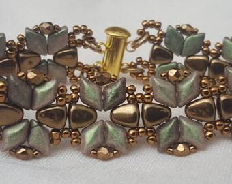Kit and Tutorial - Nib-Bit DiamonDuo Bracelet - Polychrome Olive Mauve and Bronze