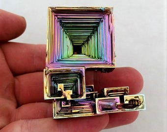 Rainbow Bismuth Crystal 136g Lab Grown Jewelry Display Specimen Educational Metaphysical Metal Healing Stone