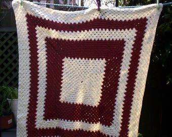 Hand Made Crochet Baby Blanket for Pram or Cot ( Brown / Cream )