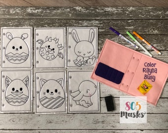 Easter Quiet Book Easter Basket Kids Coloring Book Reusable Coloring Book Coloring Pages Easter Favor Dry Erase Color Busy Book