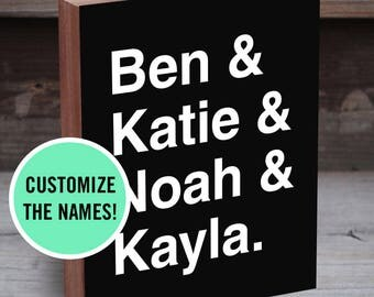 Family Name Sign - Family Names - Signs with Names - Family Name Blocks - Family Name Print - Family Name Sign Wood