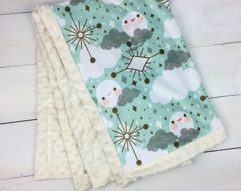 Baby minky blanket, mint gold blanket,  moon cloud blanket, boy girl blanket, throw blanket, baby shower gift, birth gift, adult size