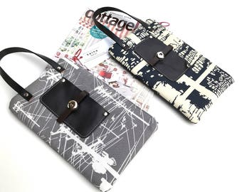 Gray Abstract/Camouflage/Purple Moons Leather Strap Purse
