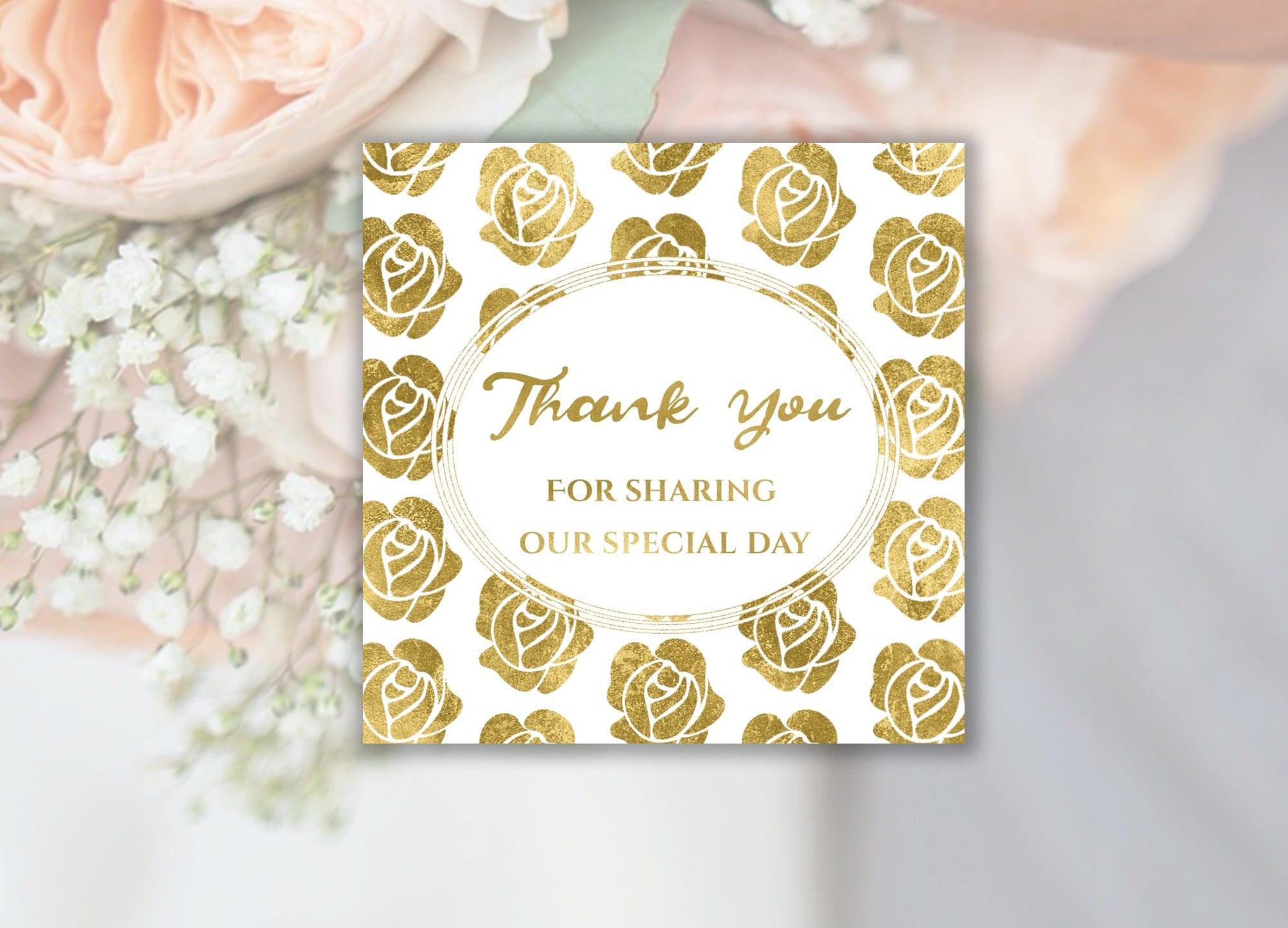 Gold Wedding Thank You Stickers, Thank You Wedding Tags, Wedding ...