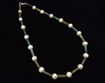 Sterling Silver Cultured Freshwater Pearl and Turquoise Necklace, Turquoise and Pearl Choker