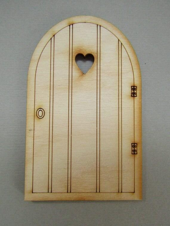 Wooden fairy door plain heart fairy door craft shape for Fairy door shapes
