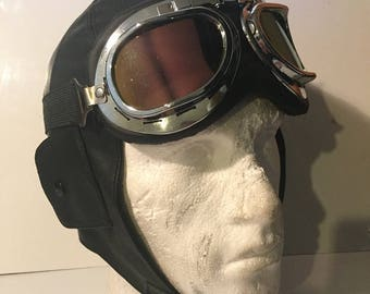 Faux Leather Motorbike Trapper Style Hat, With Flying Goggles. Aviator / Pilot Style