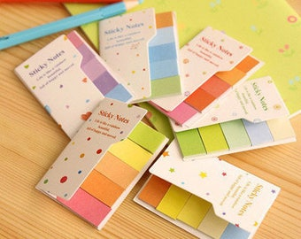 Cute Random Color Small Sticky Note Tab Booklet- Organizer , Kawaii Stationary -
