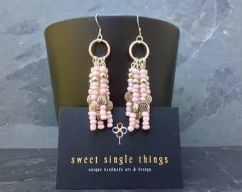 Earrings, pendant earrings, earrings, summer, pink, silver, Princess