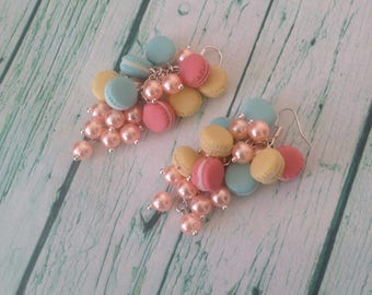 long earrings /french macaroons /sweets /Earrings Dangle/ Macaroon round /jewerly/handmade jewerly