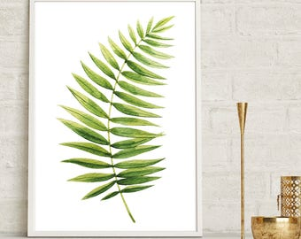 Fern Leaf Wall Print, Tropical Print, Home Decor, Botanical Wall Print, Plant Leaf Print, Botanical Leaves, Prints, Home Green Room