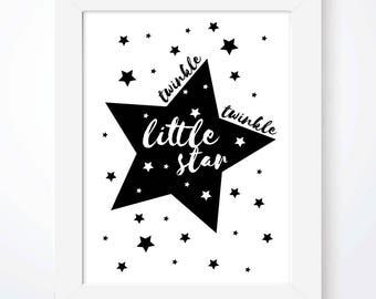 Twinkle Twinkle Little Star Print Nursery Prints Boys Room Print Girls Room Prints Nursery Rhyme Nursery Wall Art Star Scandinavian Print