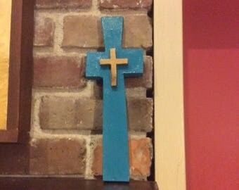 Cross-handsome: Wood with antique jewels, ceramic, beads...Great Gift!