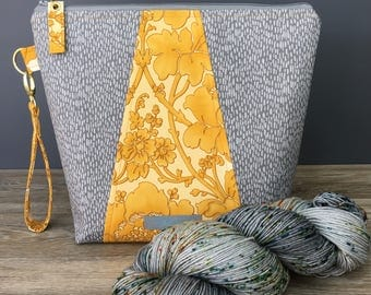 Grey and Yellow - Medium Size Project Knitting Bag by WIPyarns, Sock Bag, Project Bag, Knitting Crochet GIFT