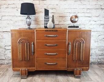 Antique Oak 1930s Art Deco Sideboard