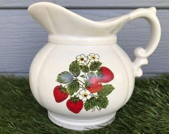 Vintage McCoy Pitcher, Vintage McCoy Pottery, Vintage McCoy Starwberry Pitcher, Farmhouse Kitchen Decor, McCoy Pitcher