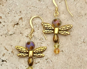 Gold Drop Earrings with Dragonfly Design