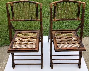Vintage Bamboo Folding Chairs, Set of Two (2)