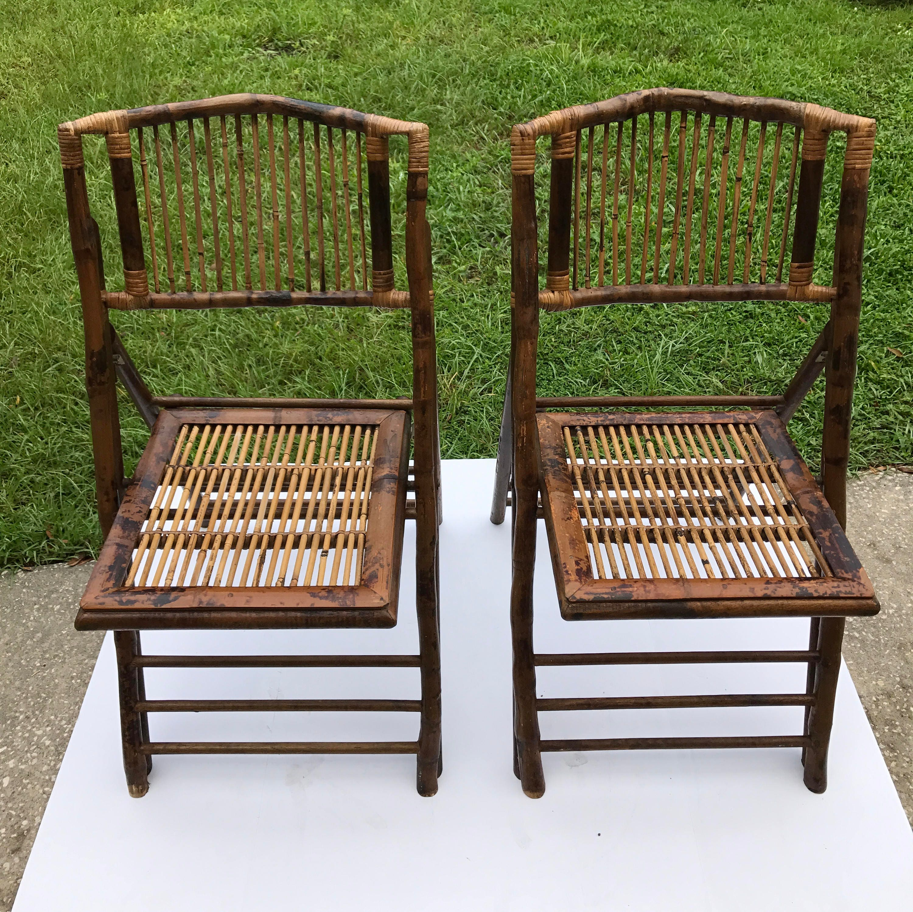 2x Vintage Bamboo Folding Chairs – Classics Life