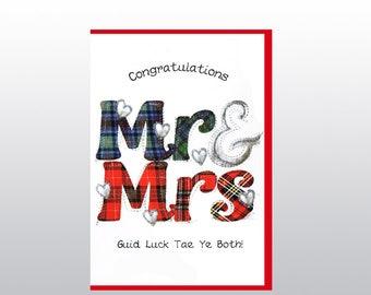 Scottish Wedding Card Mr&Mrs WWWE52
