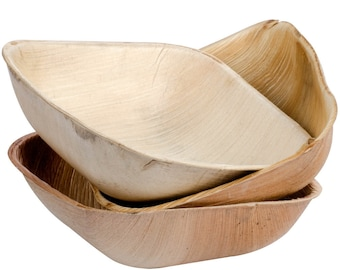 "Party Bowl | Disposable 5"" Square Bamboo Style / Palm Leaf 