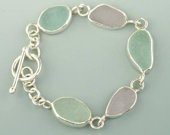 Genuine Sea Glass Bracelet, Sea Glass Bracelet, Sea Foam Bracelet, Beach Glass Bracelet, Sea Glass Jewelry, Sterling Silver Toggle Bracelet