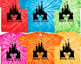 Walt Disney World matching vacation 2018 tie dye t shirts shirt clothing magic kingdom epcot hollywood studios animal kingdom pandora